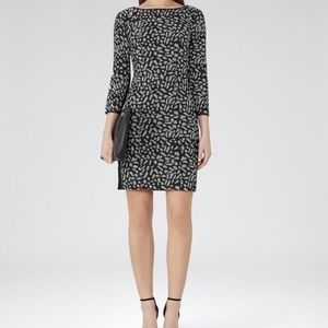Reiss Women's Cocktail Dress Mesh Textured Fitted
